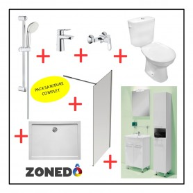 Pack installation complet Sanitaire - 1er Prix - Douche + Evier + WC