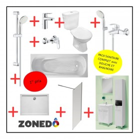 Pack installation complet Sanitaire - 1er Prix - Douche + Evier + WC + Baignoire