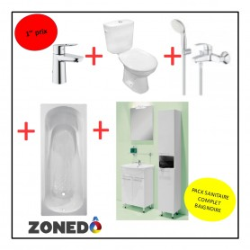 Pack installation complet Sanitaire - 1er Prix - Evier + WC + Baignoire
