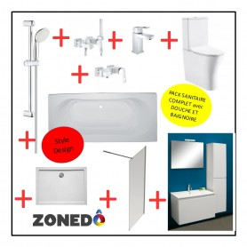 Pack installation complet Sanitaire - Design - Evier + WC + Baignoire + Douche