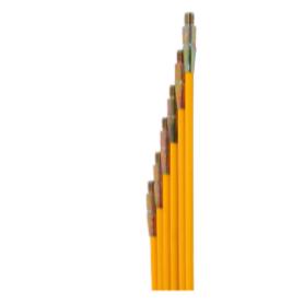 Kit de 6 cannes flexibles jaunes - Pour ramonages - Longueur de 1,5 m